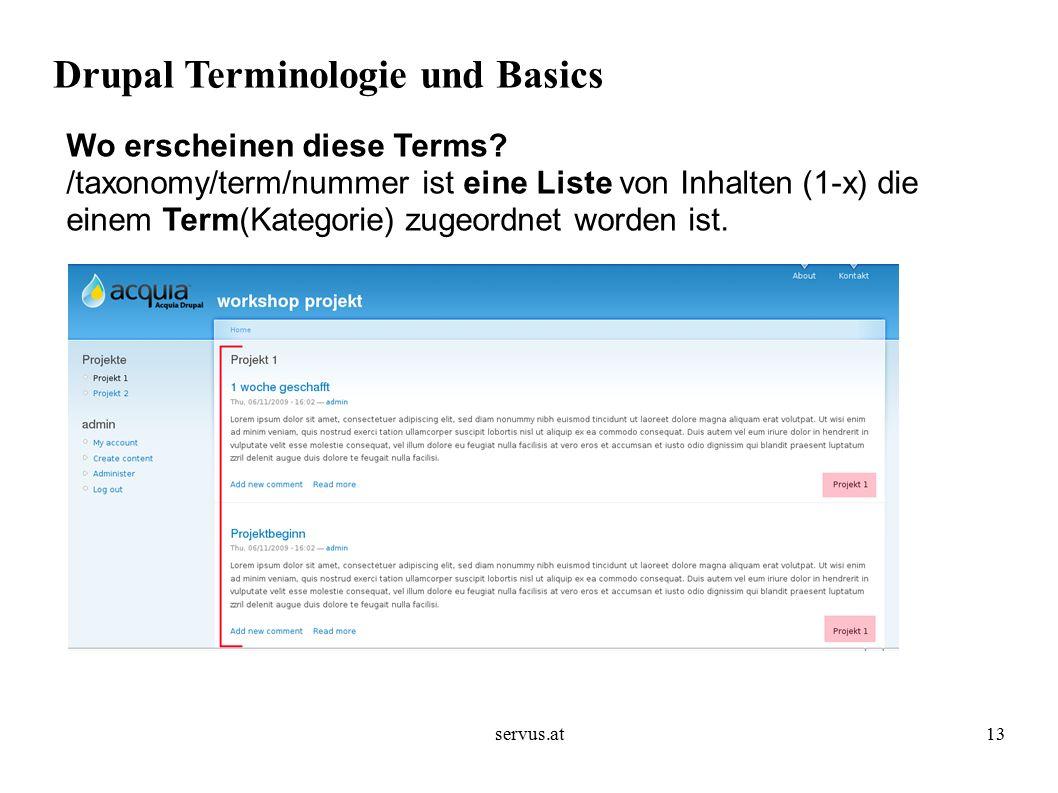 servus.at13 Drupal Terminologie und Basics Wo erscheinen diese Terms.