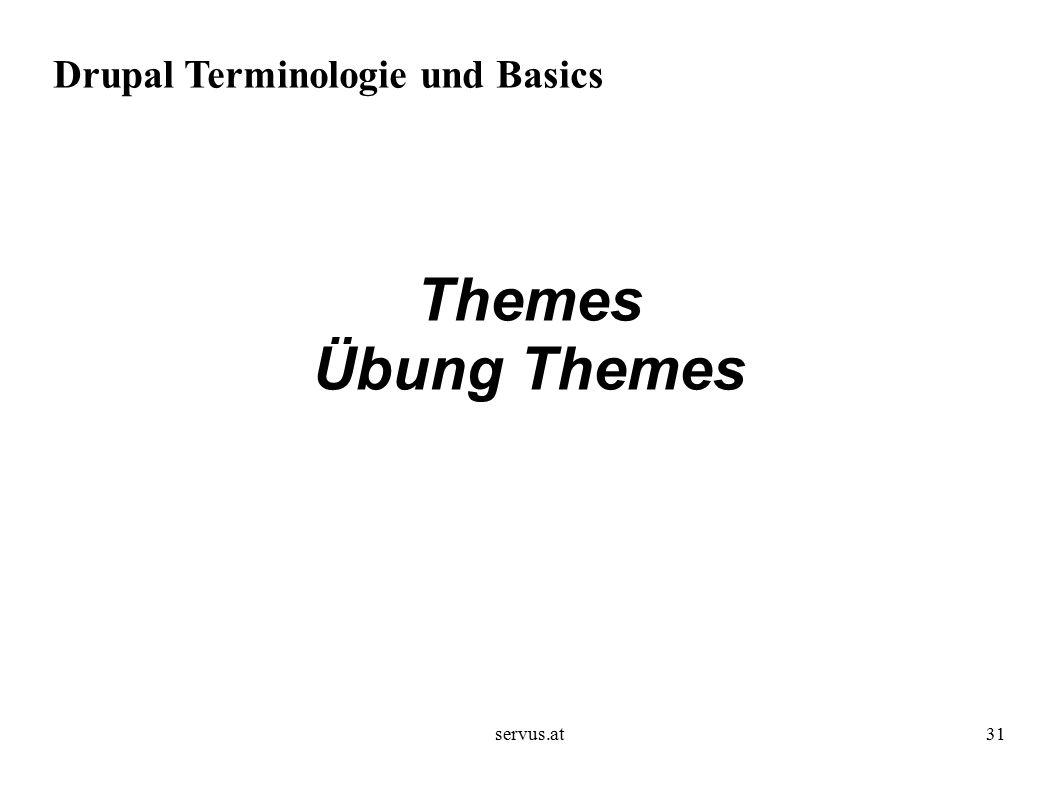 servus.at31 Drupal Terminologie und Basics Themes Übung Themes