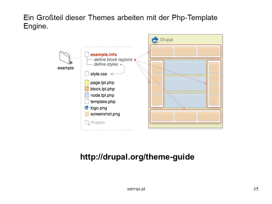 servus.at35 http://drupal.org/theme-guide Ein Großteil dieser Themes arbeiten mit der Php-Template Engine.