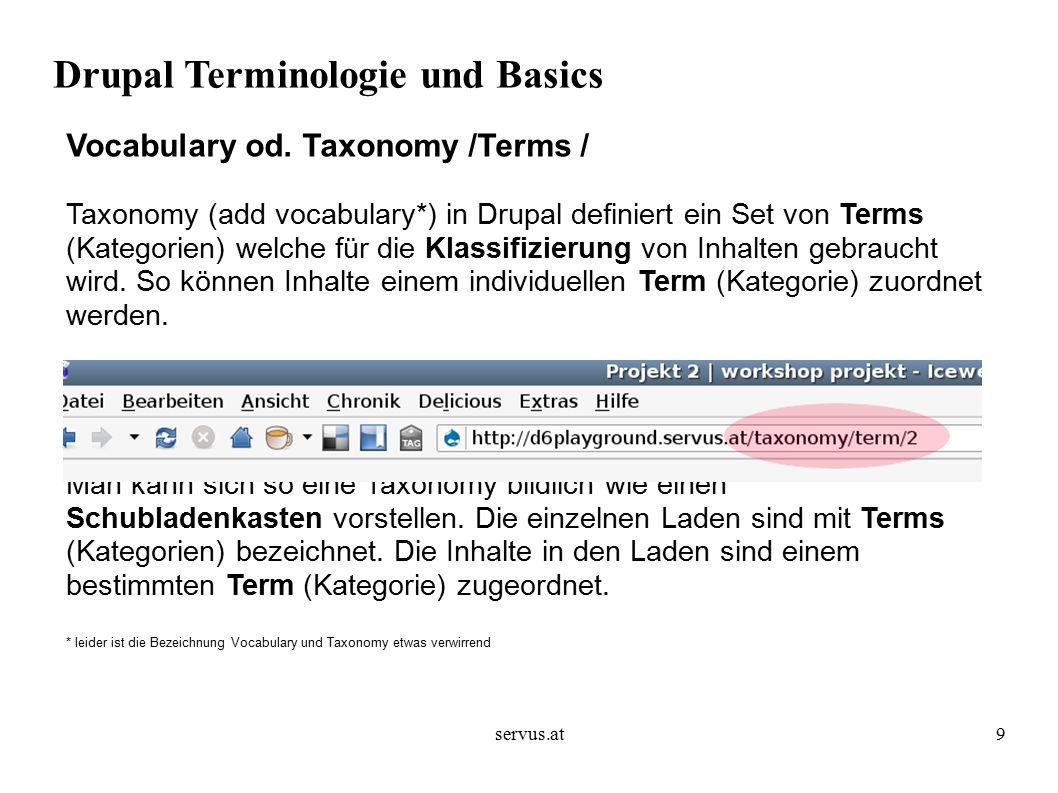 servus.at10 Drupal Terminologie und Basics Vocabulary od.