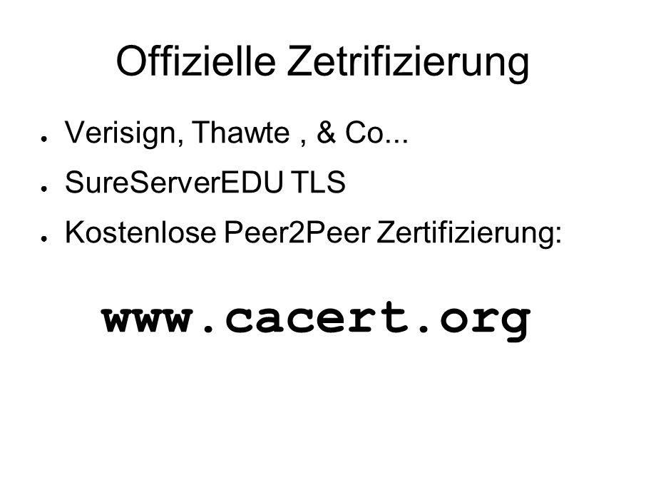 Offizielle Zetrifizierung ● Verisign, Thawte, & Co... ● SureServerEDU TLS ● Kostenlose Peer2Peer Zertifizierung: www.cacert.org