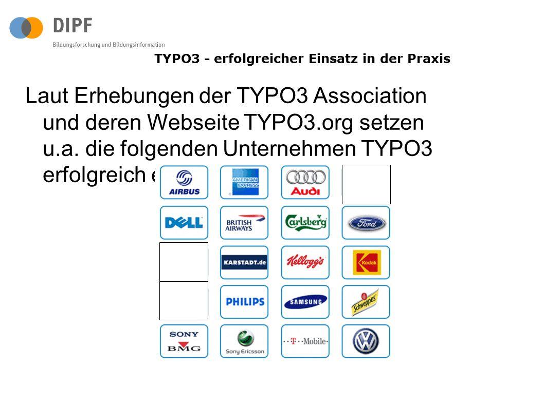 Laut Erhebungen der TYPO3 Association und deren Webseite TYPO3.org setzen u.a. die folgenden Unternehmen TYPO3 erfolgreich ein