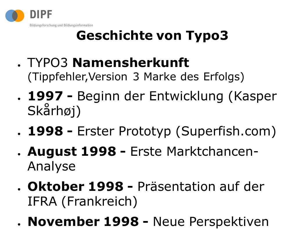 Geschichte von Typo3 ● TYPO3 Namensherkunft (Tippfehler,Version 3 Marke des Erfolgs) ● 1997 - Beginn der Entwicklung (Kasper Skårhøj) ● 1998 - Erster