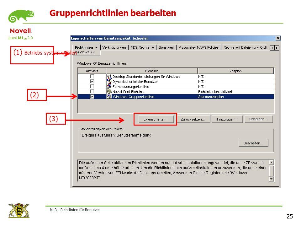 paed M L ® 3.0 25 ML3 - Richtlinien für Benutzer Gruppenrichtlinien bearbeiten (1) Betriebs-system wählen (2) (3)