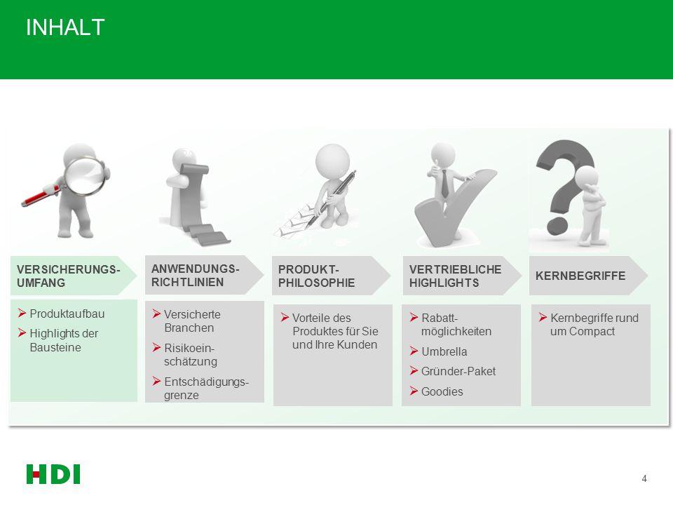 INHALT 4 ANWENDUNGS- RICHTLINIEN VERSICHERUNGS- UMFANG PRODUKT- PHILOSOPHIE VERTRIEBLICHE HIGHLIGHTS KERNBEGRIFFE  Versicherte Branchen  Risikoein- schätzung  Entschädigungs- grenze  Produktaufbau  Highlights der Bausteine  Vorteile des Produktes für Sie und Ihre Kunden  Rabatt- möglichkeiten  Umbrella  Gründer-Paket  Goodies  Kernbegriffe rund um Compact