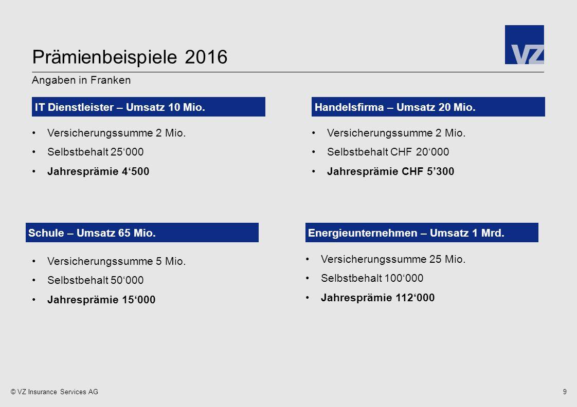 © VZ Insurance Services AG9 Angaben in Franken IT Dienstleister – Umsatz 10 Mio.Handelsfirma – Umsatz 20 Mio.