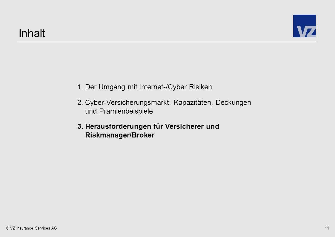 © VZ Insurance Services AG 1.Der Umgang mit Internet-/Cyber Risiken 2.Cyber-Versicherungsmarkt: Kapazitäten, Deckungen und Prämienbeispiele 3.Herausforderungen für Versicherer und Riskmanager/Broker Inhalt 11
