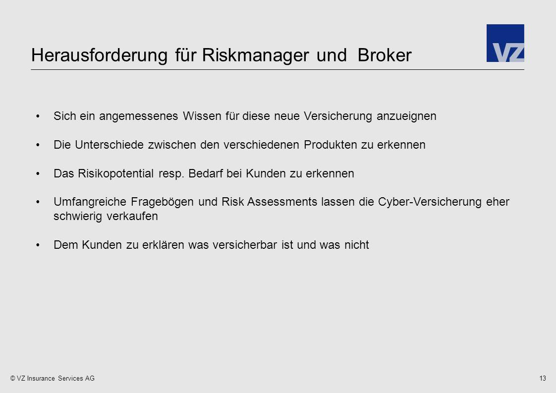 © VZ Insurance Services AG Herausforderung für Riskmanager und Broker 13 Sich ein angemessenes Wissen für diese neue Versicherung anzueignen Die Unterschiede zwischen den verschiedenen Produkten zu erkennen Das Risikopotential resp.