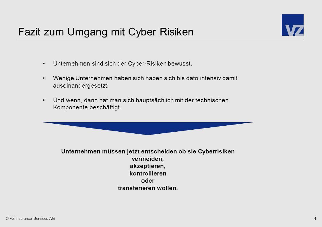 © VZ Insurance Services AG Fazit zum Umgang mit Cyber Risiken 4 Unternehmen sind sich der Cyber-Risiken bewusst.