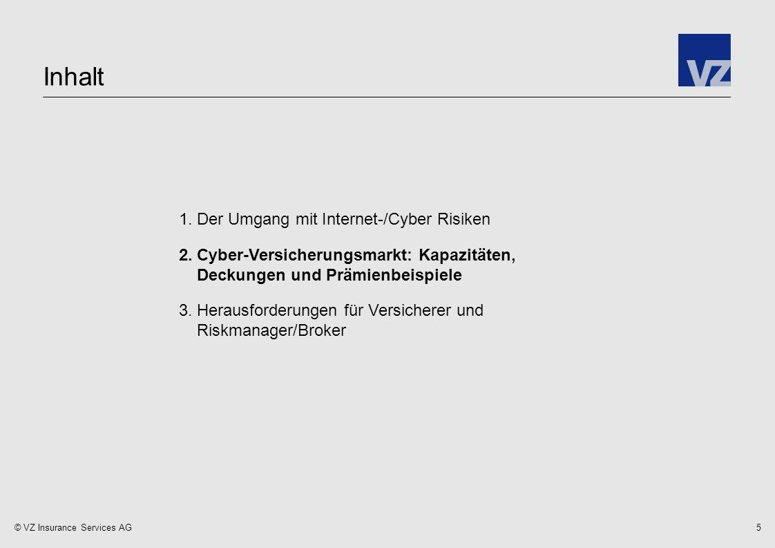 © VZ Insurance Services AG 1.Der Umgang mit Internet-/Cyber Risiken 2.Cyber-Versicherungsmarkt: Kapazitäten, Deckungen und Prämienbeispiele 3.Herausforderungen für Versicherer und Riskmanager/Broker Inhalt 5