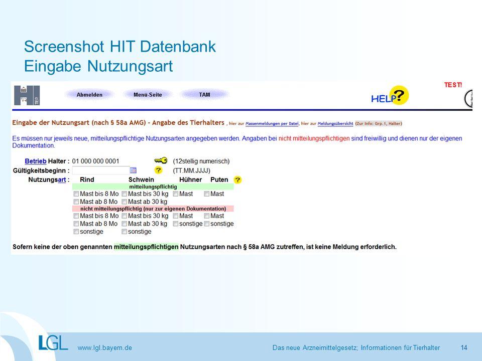 www.lgl.bayern.de Screenshot HIT Datenbank Eingabe Nutzungsart Das neue Arzneimittelgesetz; Informationen für Tierhalter14