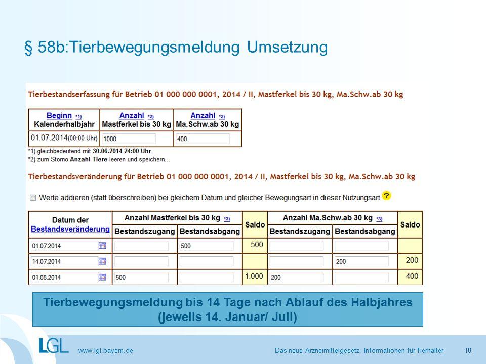 www.lgl.bayern.de § 58b:Tierbewegungsmeldung Umsetzung Das neue Arzneimittelgesetz; Informationen für Tierhalter Tierbewegungsmeldung bis 14 Tage nach Ablauf des Halbjahres (jeweils 14.