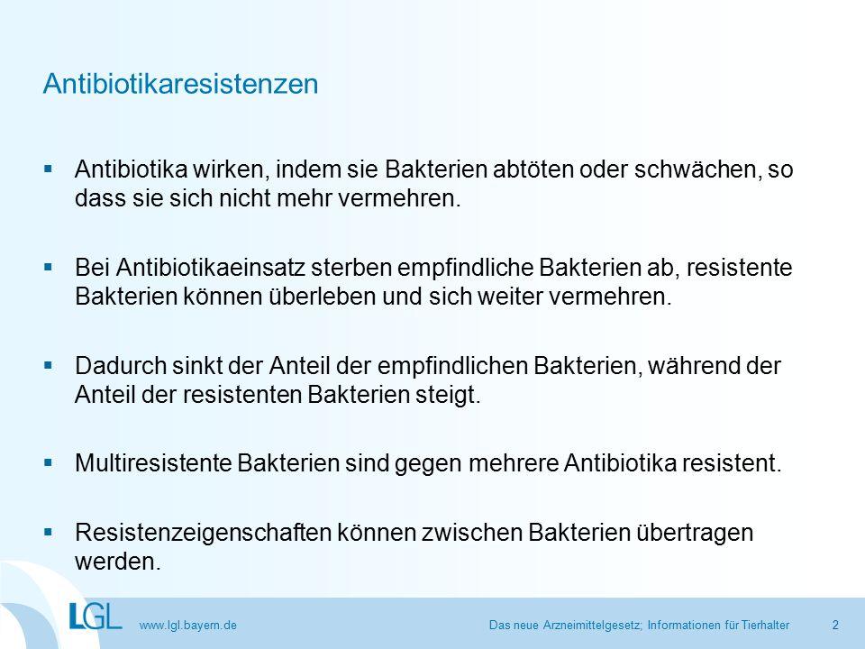 www.lgl.bayern.de Antibiotikaresistenzen  Antibiotika wirken, indem sie Bakterien abtöten oder schwächen, so dass sie sich nicht mehr vermehren.