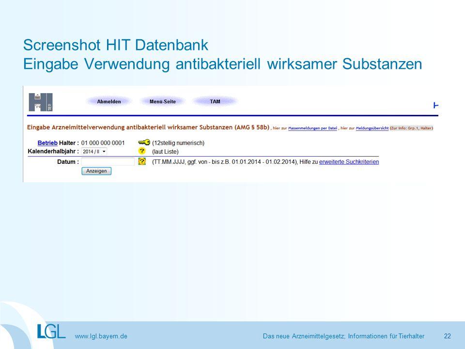 www.lgl.bayern.de Screenshot HIT Datenbank Eingabe Verwendung antibakteriell wirksamer Substanzen Das neue Arzneimittelgesetz; Informationen für Tierhalter22