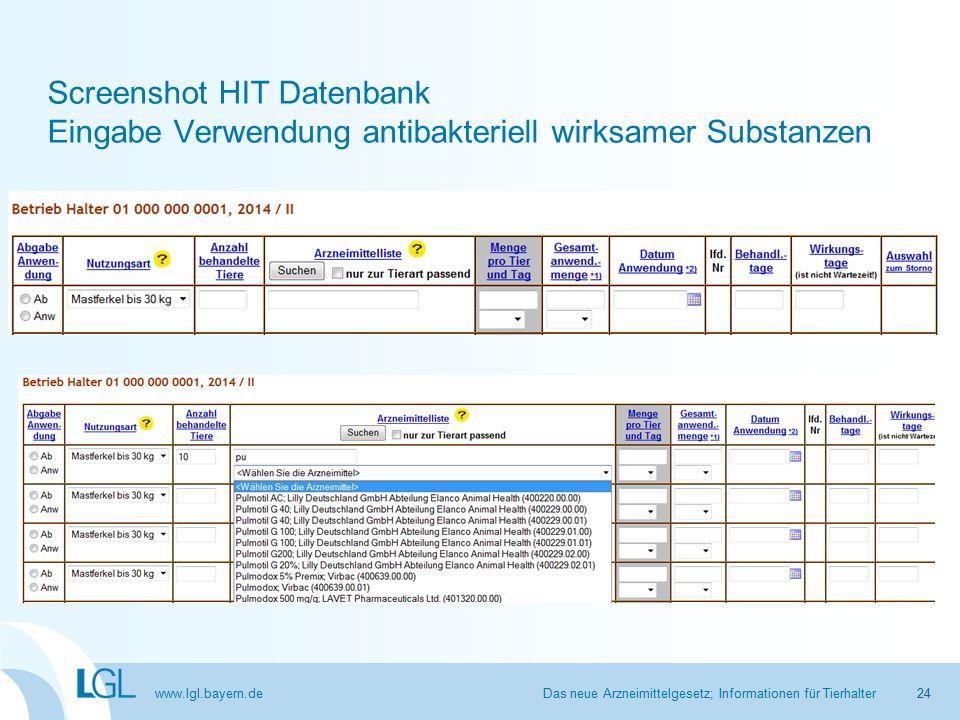www.lgl.bayern.de Screenshot HIT Datenbank Eingabe Verwendung antibakteriell wirksamer Substanzen Das neue Arzneimittelgesetz; Informationen für Tierhalter24