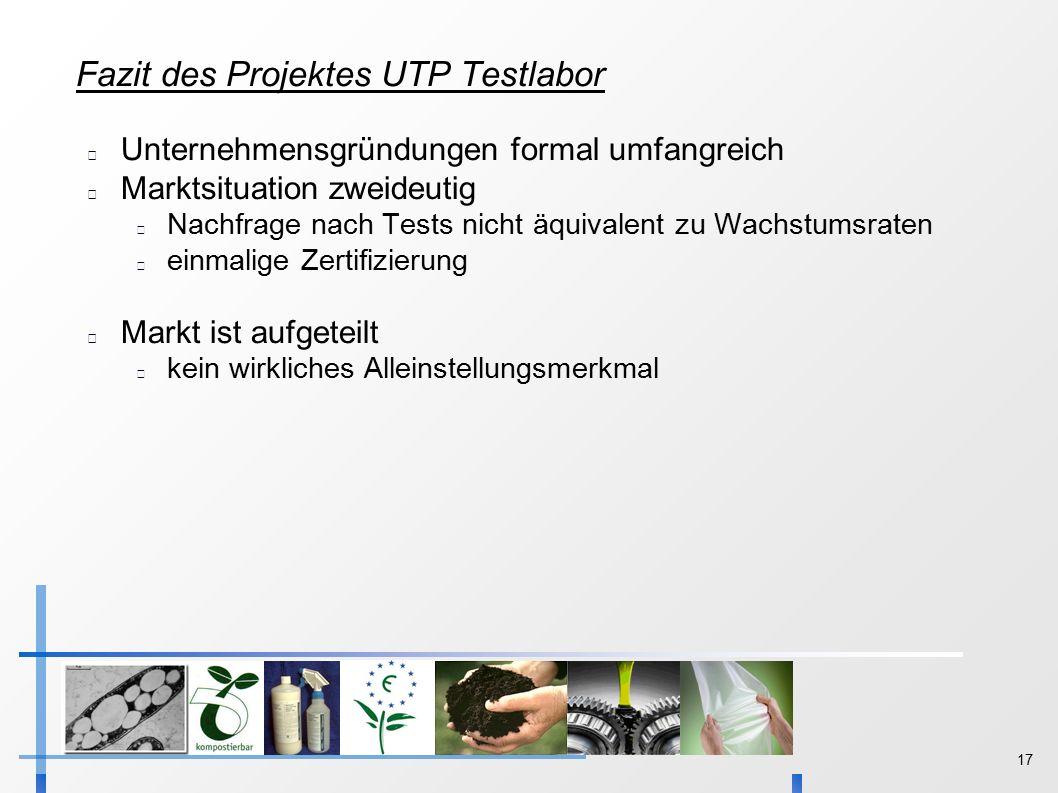 17 Fazit des Projektes UTP Testlabor Unternehmensgründungen formal umfangreich Marktsituation zweideutig Nachfrage nach Tests nicht äquivalent zu Wachstumsraten einmalige Zertifizierung Markt ist aufgeteilt kein wirkliches Alleinstellungsmerkmal