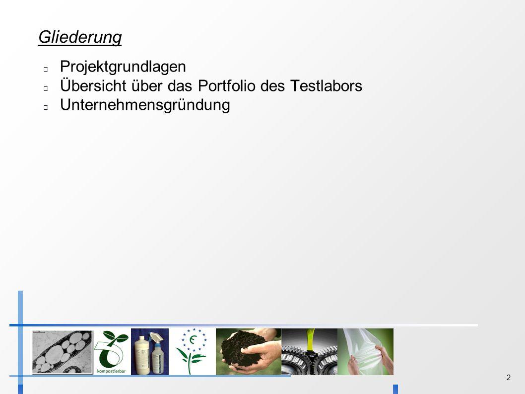 2 Gliederung Projektgrundlagen Übersicht über das Portfolio des Testlabors Unternehmensgründung