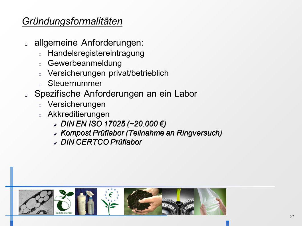 21 Gründungsformalitäten allgemeine Anforderungen: Handelsregistereintragung Gewerbeanmeldung Versicherungen privat/betrieblich Steuernummer Spezifische Anforderungen an ein Labor Versicherungen Akkreditierungen ✔ DIN EN ISO 17025 (~20.000 €) ✔ Kompost Prüflabor (Teilnahme an Ringversuch) ✔ DIN CERTCO Prüflabor