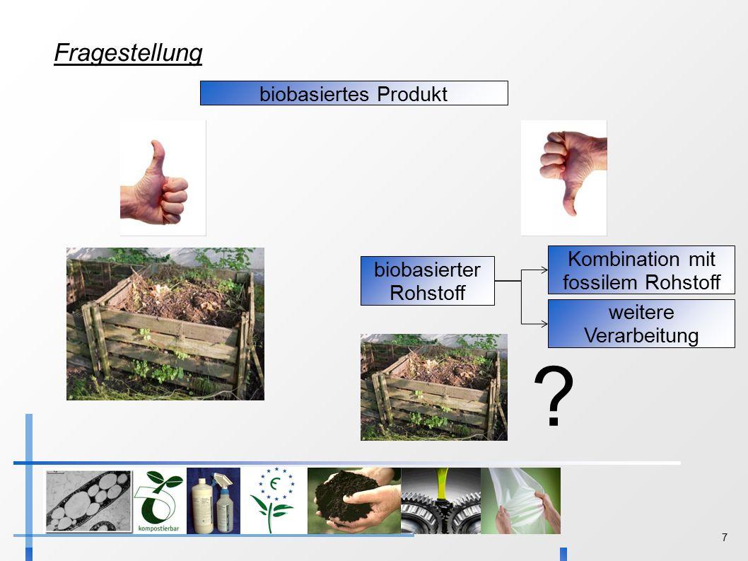 7 Fragestellung biobasiertes Produkt biobasierter Rohstoff Kombination mit fossilem Rohstoff .