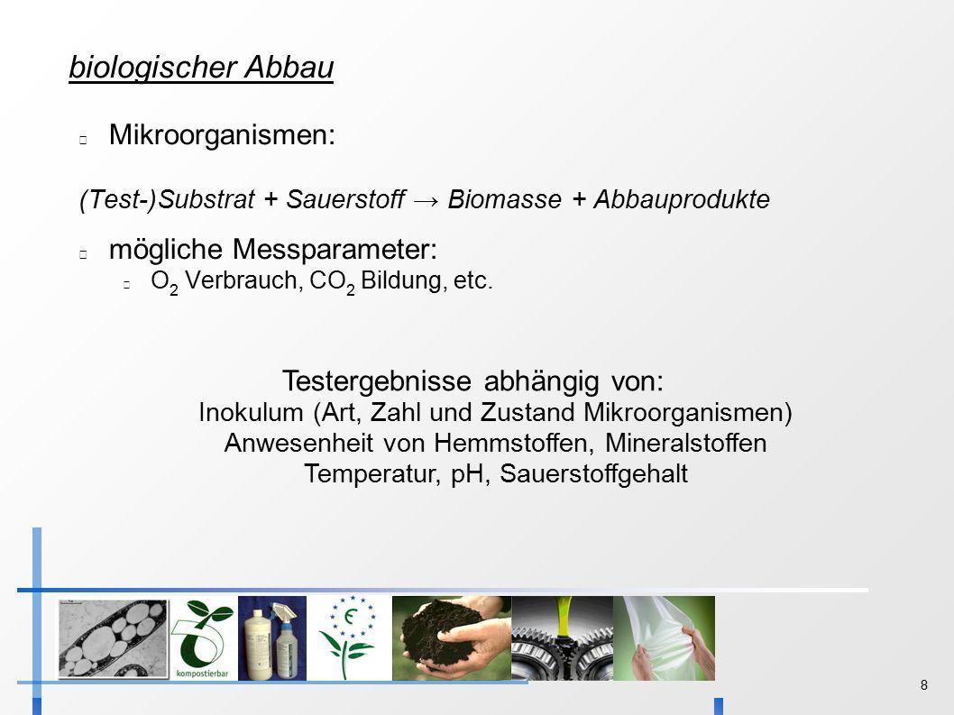 8 biologischer Abbau Mikroorganismen: (Test-)Substrat + Sauerstoff → Biomasse + Abbauprodukte mögliche Messparameter: O 2 Verbrauch, CO 2 Bildung, etc.
