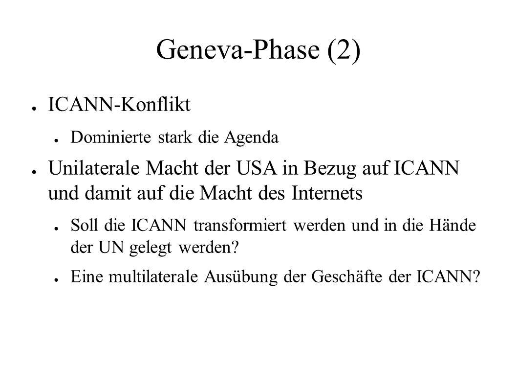 Geneva-Phase (2) ● ICANN-Konflikt ● Dominierte stark die Agenda ● Unilaterale Macht der USA in Bezug auf ICANN und damit auf die Macht des Internets ● Soll die ICANN transformiert werden und in die Hände der UN gelegt werden.