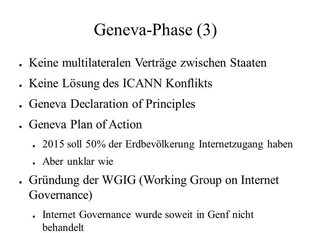 Geneva-Phase (3) ● Keine multilateralen Verträge zwischen Staaten ● Keine Lösung des ICANN Konflikts ● Geneva Declaration of Principles ● Geneva Plan