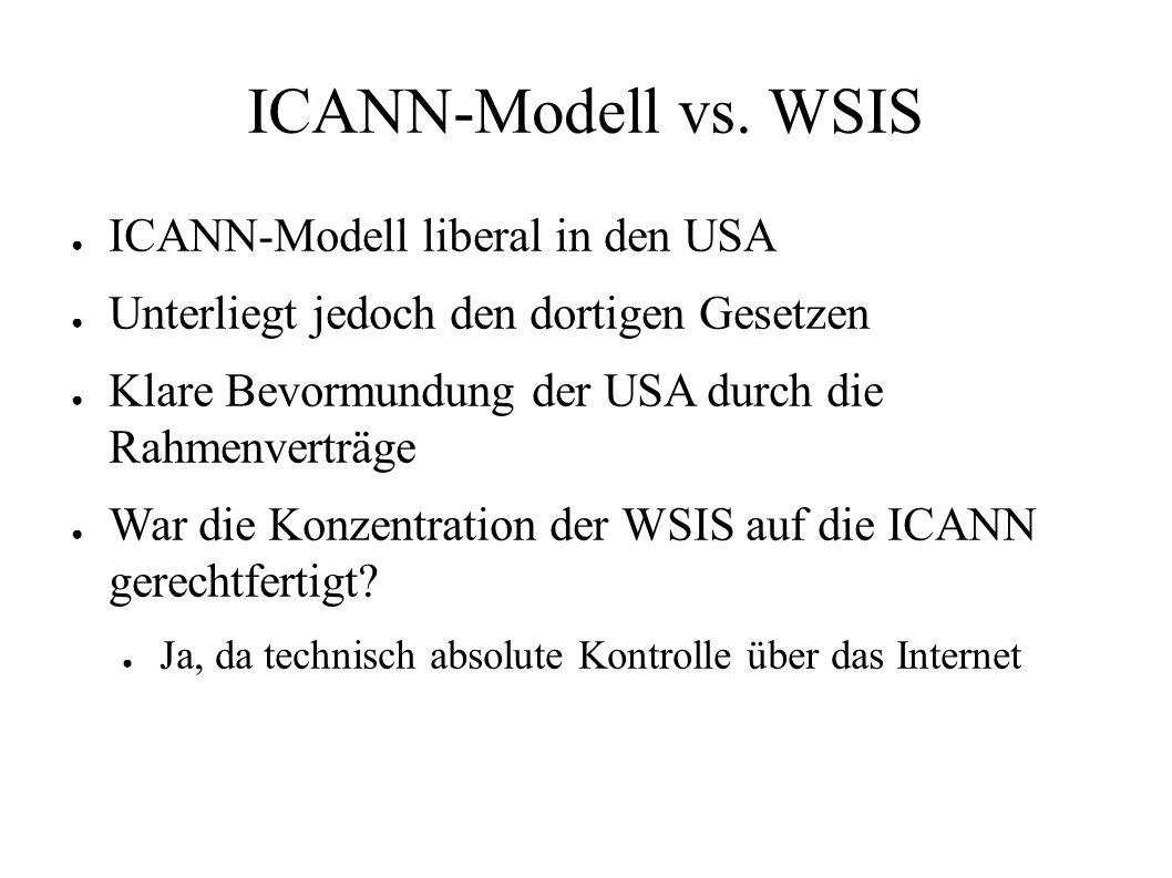 ICANN-Modell vs. WSIS ● ICANN-Modell liberal in den USA ● Unterliegt jedoch den dortigen Gesetzen ● Klare Bevormundung der USA durch die Rahmenverträg