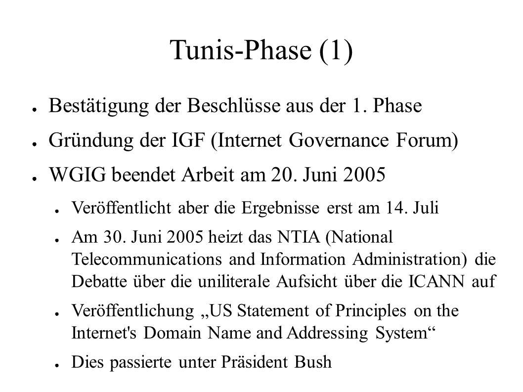 Tunis-Phase (1) ● Bestätigung der Beschlüsse aus der 1. Phase ● Gründung der IGF (Internet Governance Forum) ● WGIG beendet Arbeit am 20. Juni 2005 ●