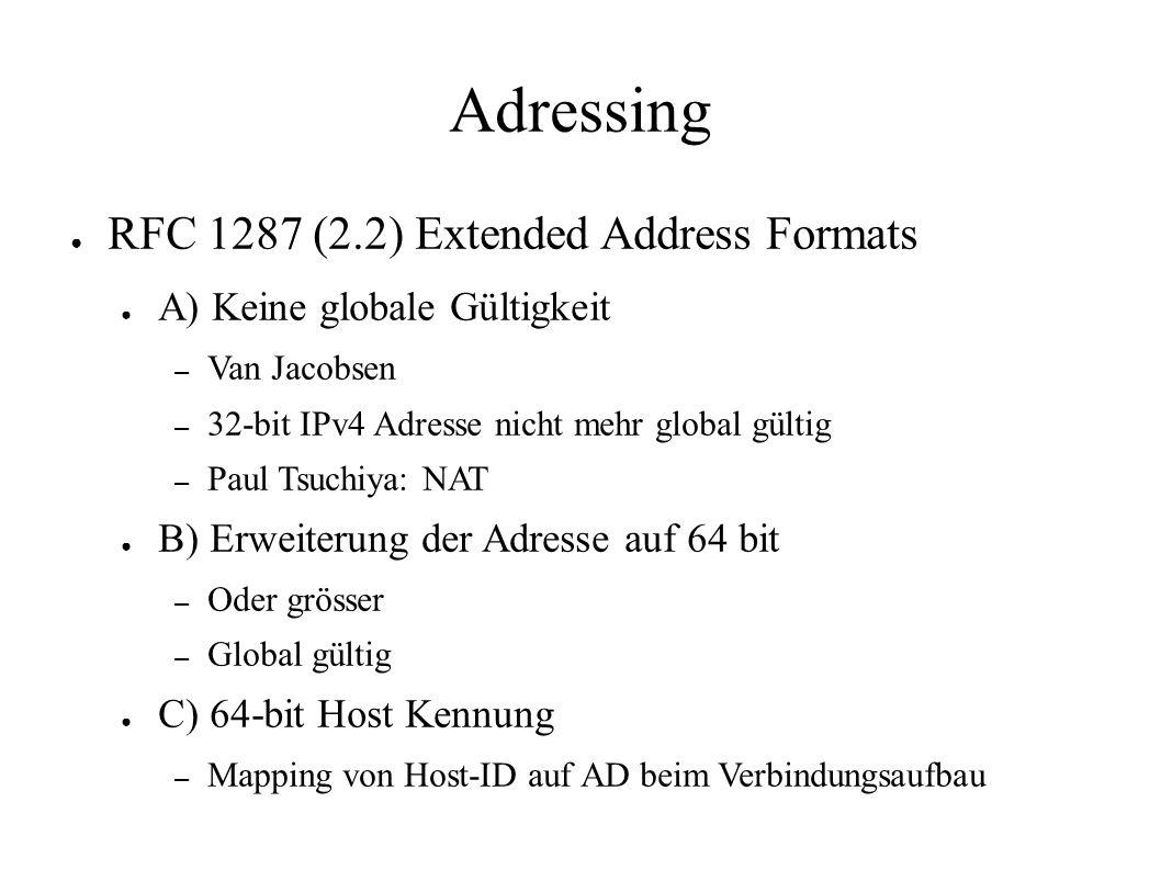 Adressing ● RFC 1287 (2.2) Extended Address Formats ● A) Keine globale Gültigkeit – Van Jacobsen – 32-bit IPv4 Adresse nicht mehr global gültig – Paul Tsuchiya: NAT ● B) Erweiterung der Adresse auf 64 bit – Oder grösser – Global gültig ● C) 64-bit Host Kennung – Mapping von Host-ID auf AD beim Verbindungsaufbau