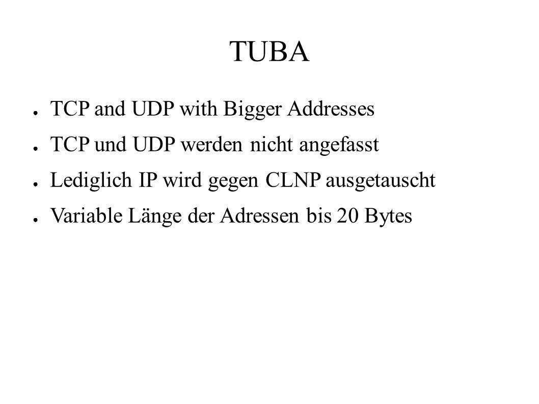 TUBA ● TCP and UDP with Bigger Addresses ● TCP und UDP werden nicht angefasst ● Lediglich IP wird gegen CLNP ausgetauscht ● Variable Länge der Adressen bis 20 Bytes