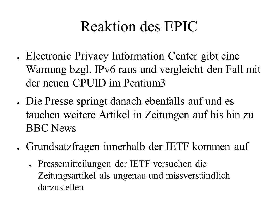 Reaktion des EPIC ● Electronic Privacy Information Center gibt eine Warnung bzgl.