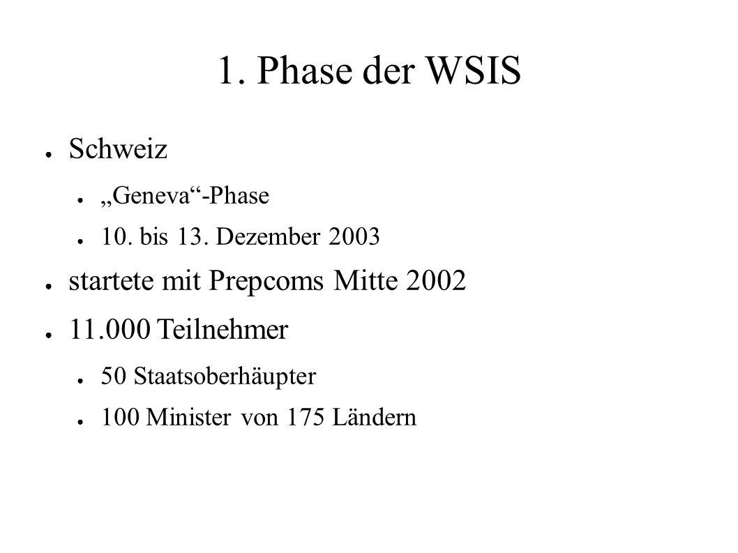 """1. Phase der WSIS ● Schweiz ● """"Geneva""""-Phase ● 10. bis 13. Dezember 2003 ● startete mit Prepcoms Mitte 2002 ● 11.000 Teilnehmer ● 50 Staatsoberhäupter"""