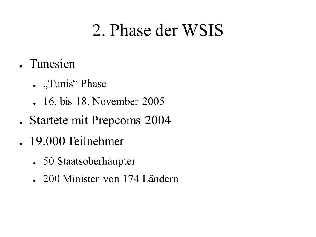 """2. Phase der WSIS ● Tunesien ● """"Tunis"""" Phase ● 16. bis 18. November 2005 ● Startete mit Prepcoms 2004 ● 19.000 Teilnehmer ● 50 Staatsoberhäupter ● 200"""