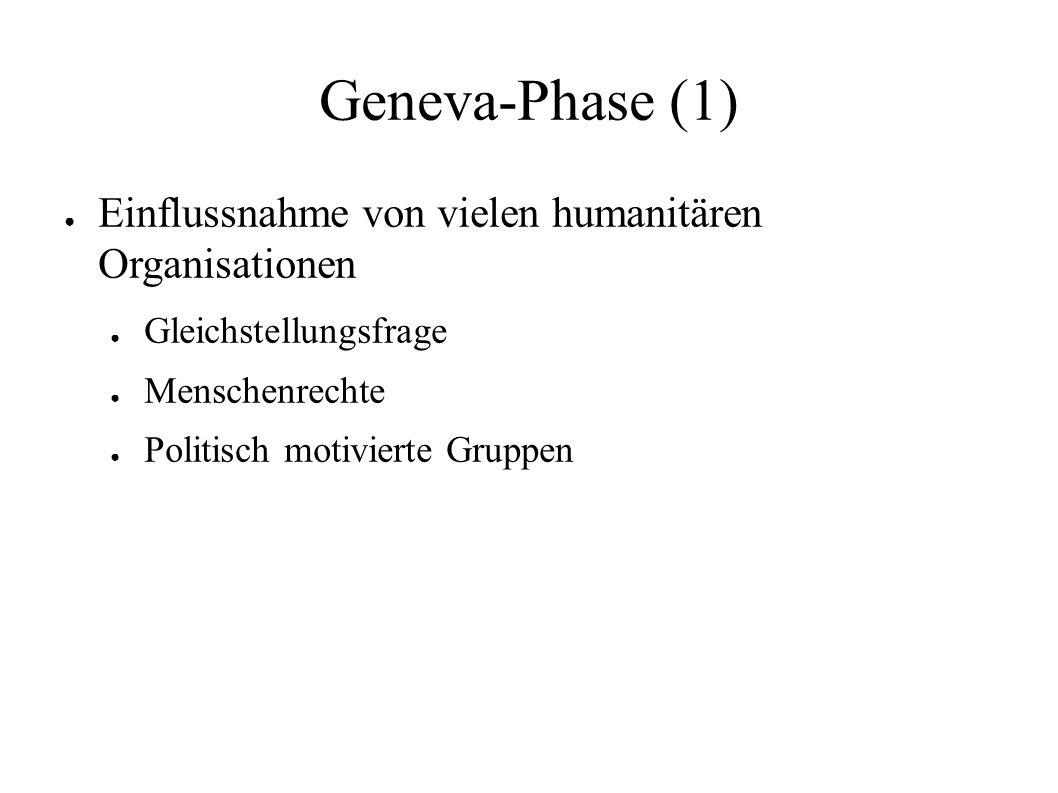 Geneva-Phase (1) ● Einflussnahme von vielen humanitären Organisationen ● Gleichstellungsfrage ● Menschenrechte ● Politisch motivierte Gruppen