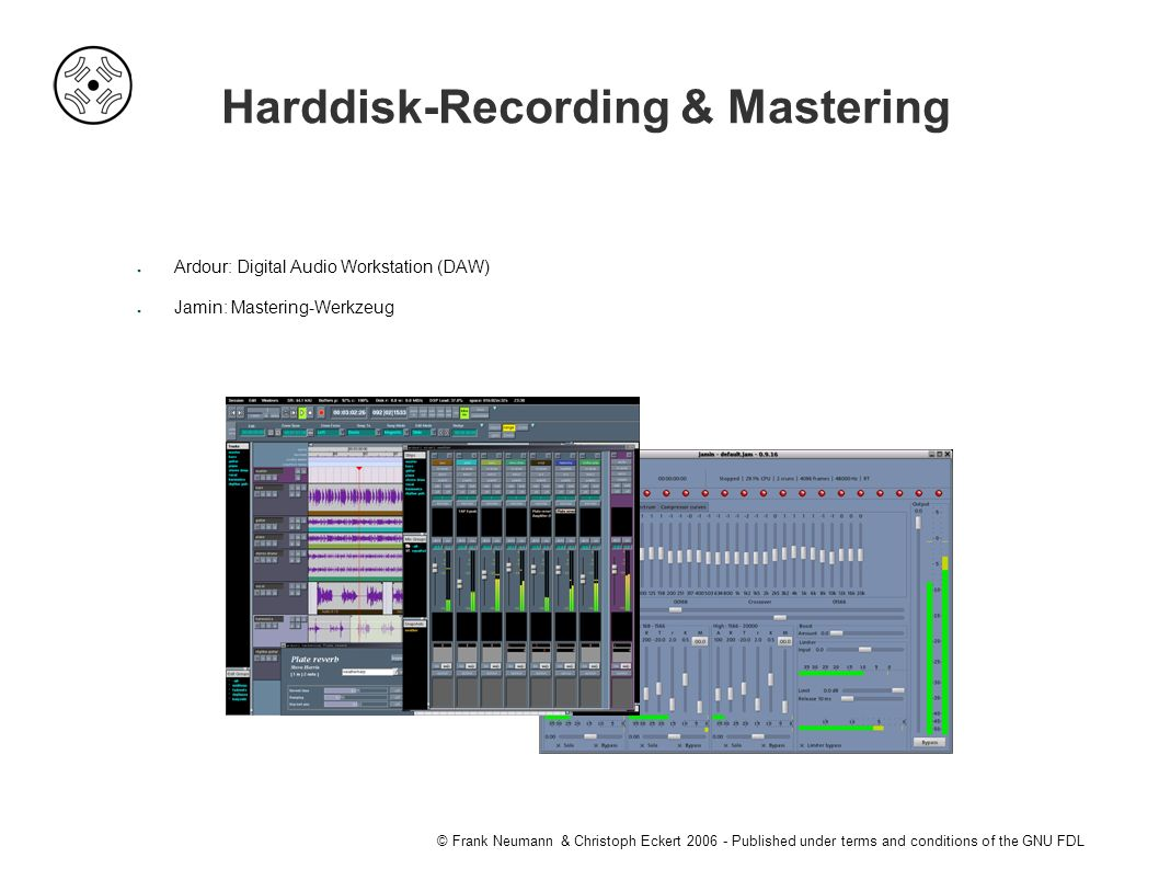 © Frank Neumann & Christoph Eckert Published under terms and conditions of the GNU FDL Harddisk-Recording & Mastering ● Ardour: Digital Audio Workstation (DAW) ● Jamin: Mastering-Werkzeug