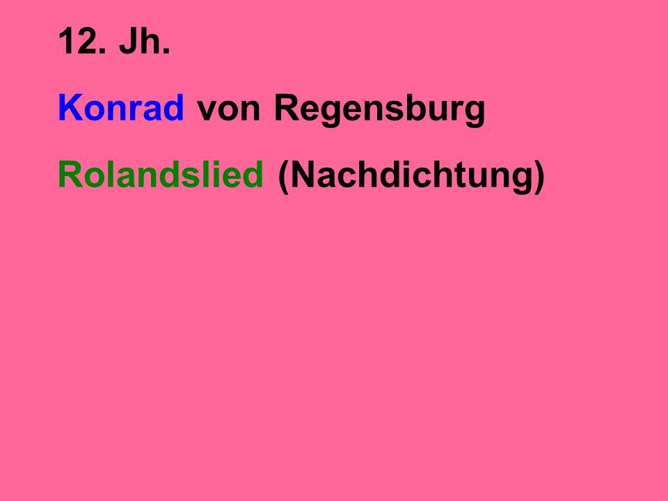 12. Jh. Konrad von Regensburg Rolandslied (Nachdichtung)