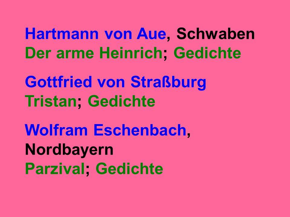 Hartmann von Aue, Schwaben Der arme Heinrich; Gedichte Gottfried von Straßburg Tristan; Gedichte Wolfram Eschenbach, Nordbayern Parzival; Gedichte