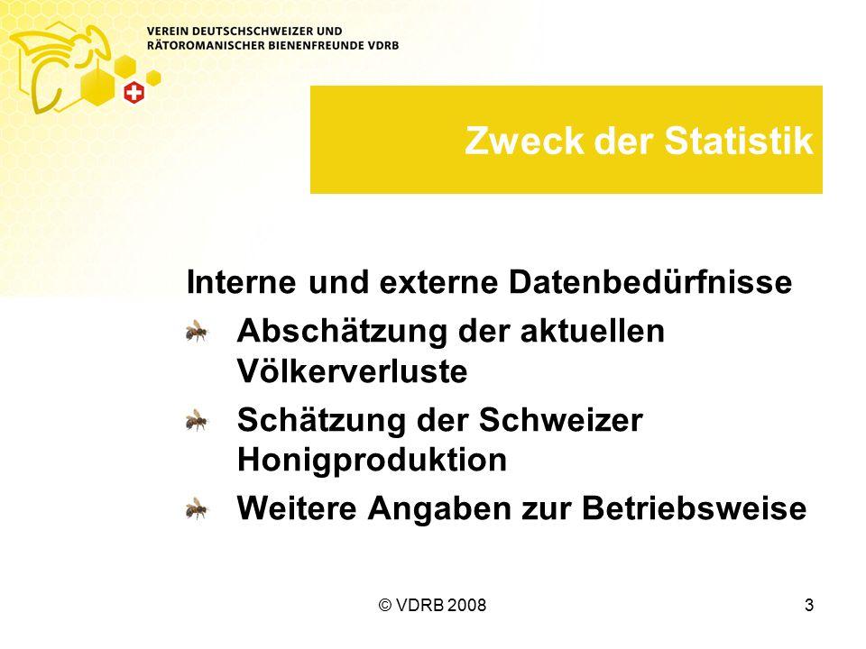© VDRB 20083 Zweck der Statistik Interne und externe Datenbedürfnisse Abschätzung der aktuellen Völkerverluste Schätzung der Schweizer Honigproduktion Weitere Angaben zur Betriebsweise