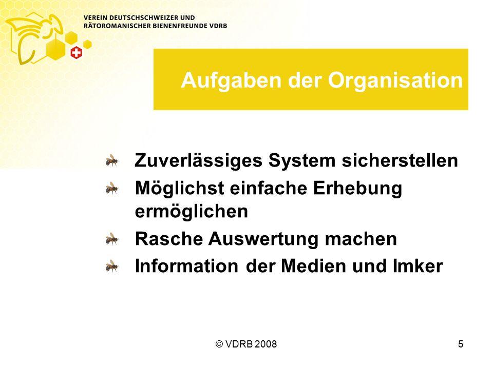 © VDRB 20085 Aufgaben der Organisation Zuverlässiges System sicherstellen Möglichst einfache Erhebung ermöglichen Rasche Auswertung machen Information der Medien und Imker
