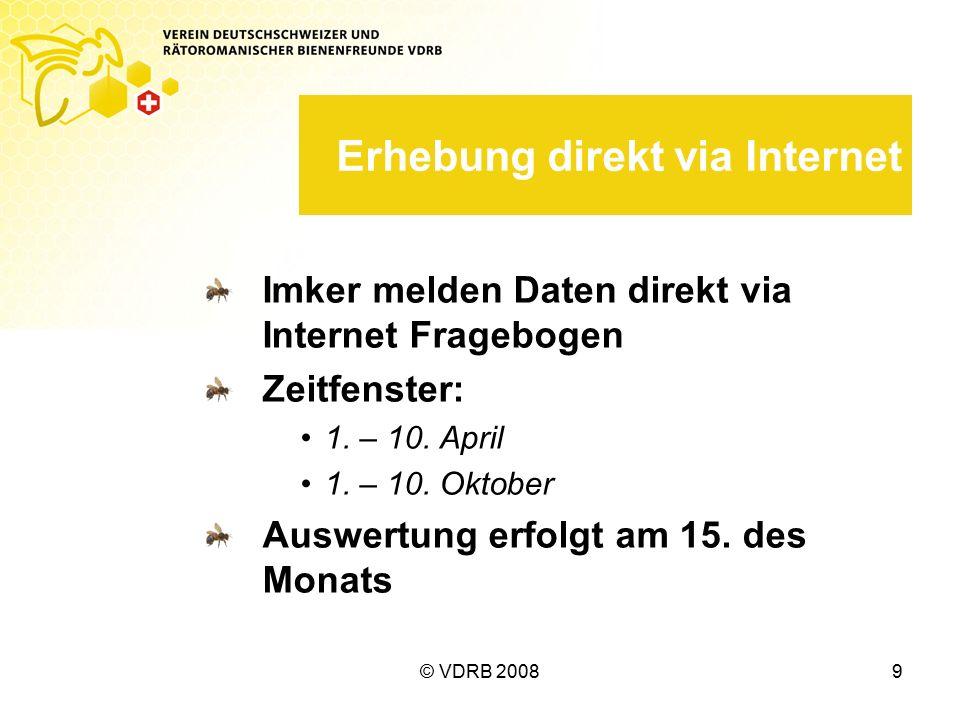 © VDRB 20089 Erhebung direkt via Internet Imker melden Daten direkt via Internet Fragebogen Zeitfenster: 1.