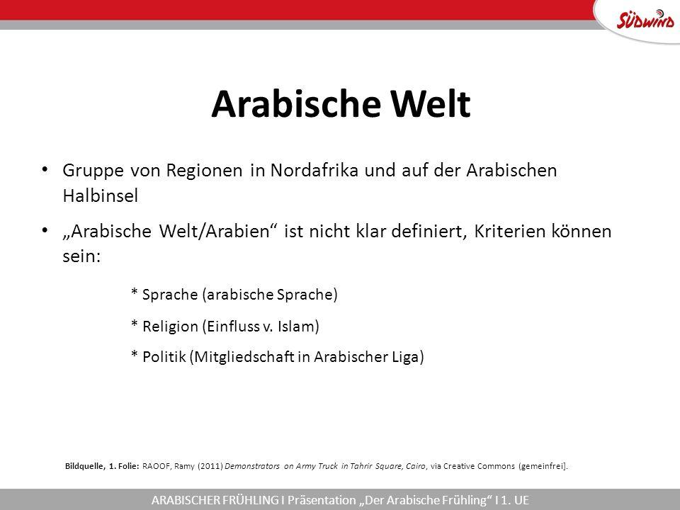 """Arabische Welt Gruppe von Regionen in Nordafrika und auf der Arabischen Halbinsel """"Arabische Welt/Arabien ist nicht klar definiert, Kriterien können sein: * Sprache (arabische Sprache) * Religion (Einfluss v."""