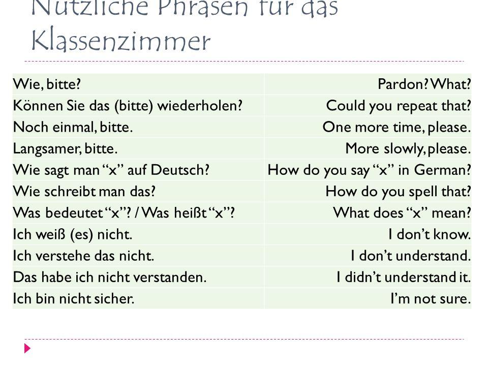 Nützliche Phrasen für das Klassenzimmer Wie, bitte?Pardon.