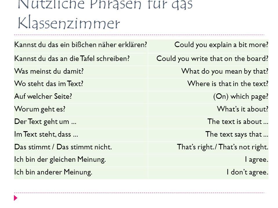Nützliche Phrasen für das Klassenzimmer Kannst du das ein bißchen näher erklären?Could you explain a bit more.