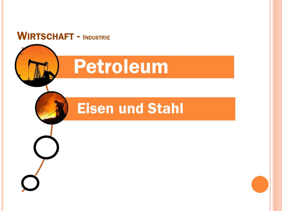 W IRTSCHAFT - I NDUSTRIE Petroleum Eisen und Stahl