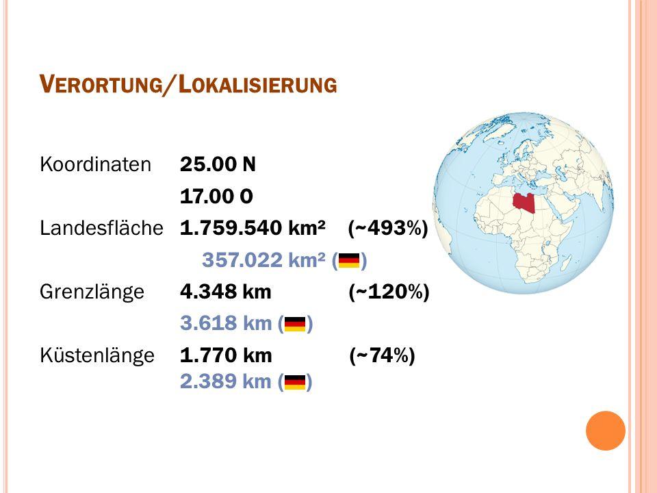 V ERORTUNG /L OKALISIERUNG Koordinaten Landesfläche Grenzlänge Küstenlänge 25.00 N 17.00 O 1.759.540 km² (~493%)....357.022 km² ( ) 4.348 km (~120%) 3