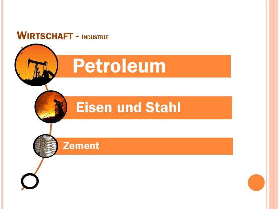 W IRTSCHAFT - I NDUSTRIE Petroleum Eisen und Stahl Zement