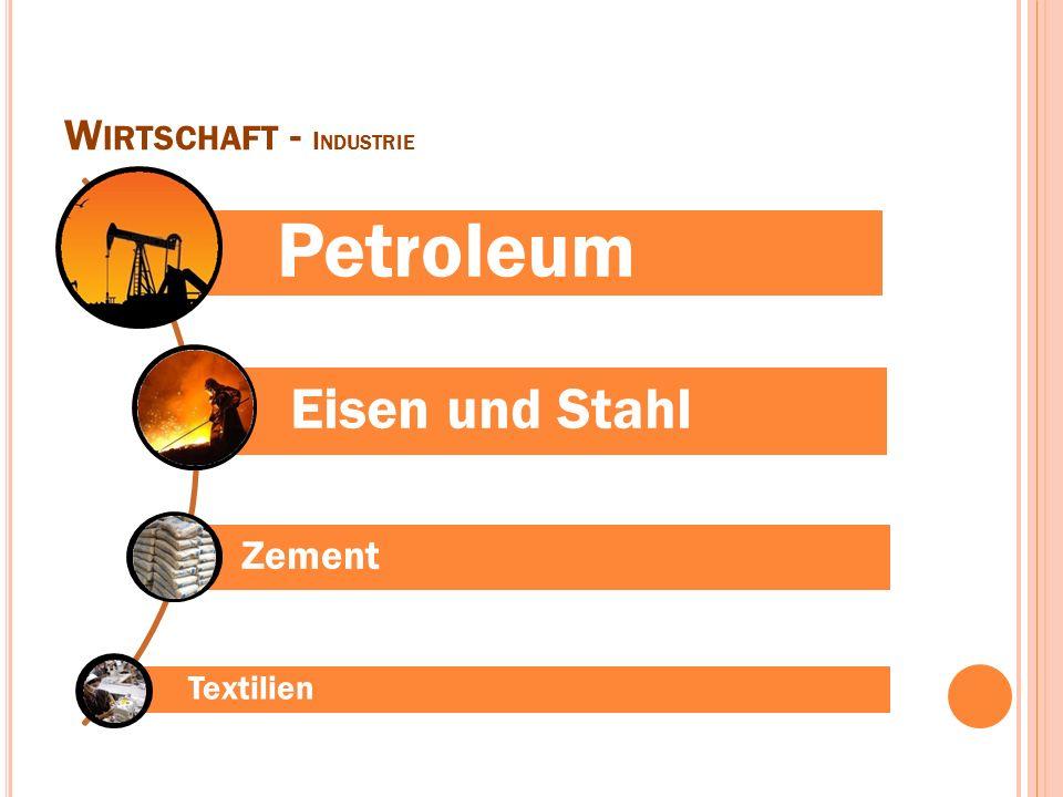 W IRTSCHAFT - I NDUSTRIE Petroleum Eisen und Stahl Zement Textilien