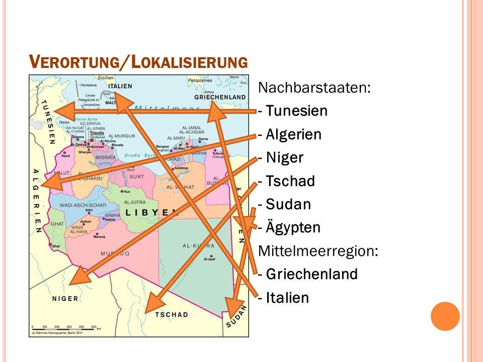 V ERORTUNG /L OKALISIERUNG Nachbarstaaten: - Tunesien - Algerien - Niger - Tschad - Sudan - Ägypten Mittelmeerregion: - Griechenland - Italien