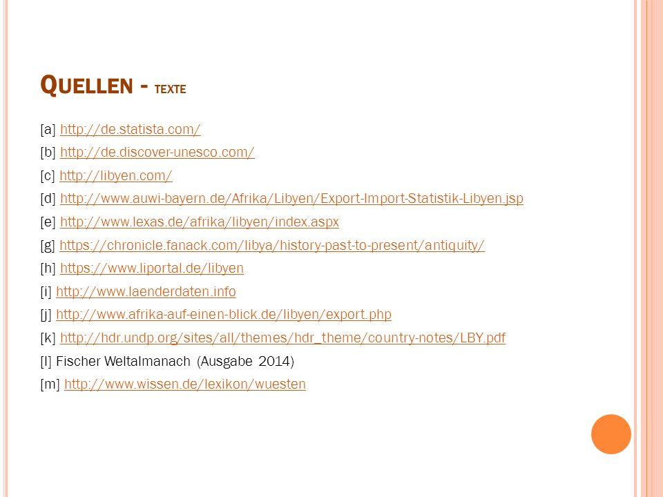 Q UELLEN - TEXTE [a] http://de.statista.com/http://de.statista.com/ [b] http://de.discover-unesco.com/http://de.discover-unesco.com/ [c] http://libyen
