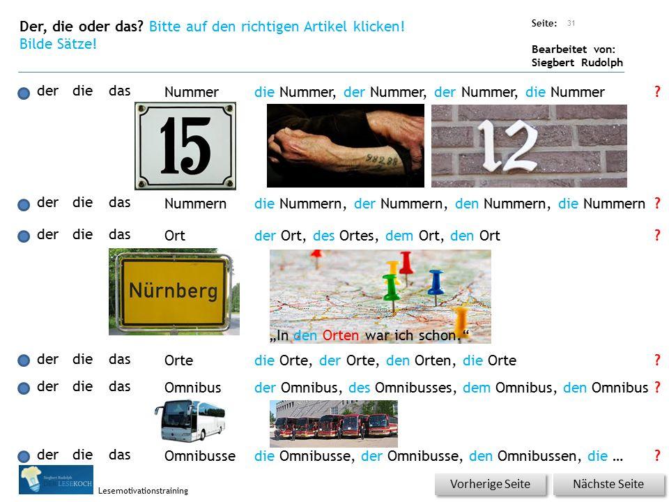 Übungsart: Seite: Bearbeitet von: Siegbert Rudolph Lesemotivationstraining Der, die oder das.